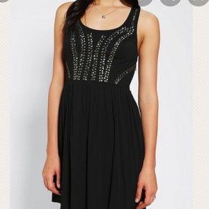 Ecote black studded T back dress/cover up size 8
